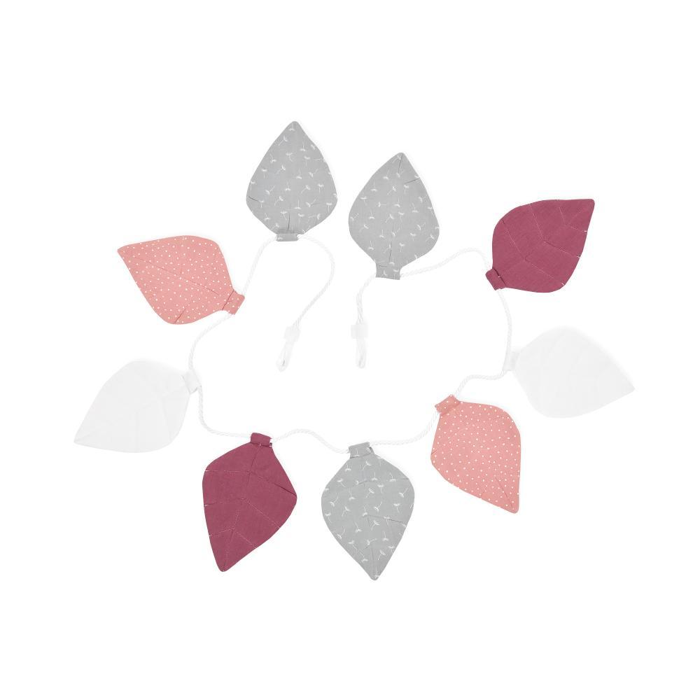 KraftKids Wimpelkette Musselin purpur weiß grau Pusteblumen
