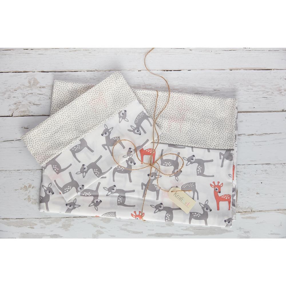KraftKids Bettwäscheset kleine Rehkitze grau orange auf Weiß 100 x 135 cm, Kissen 40 x 60 cm