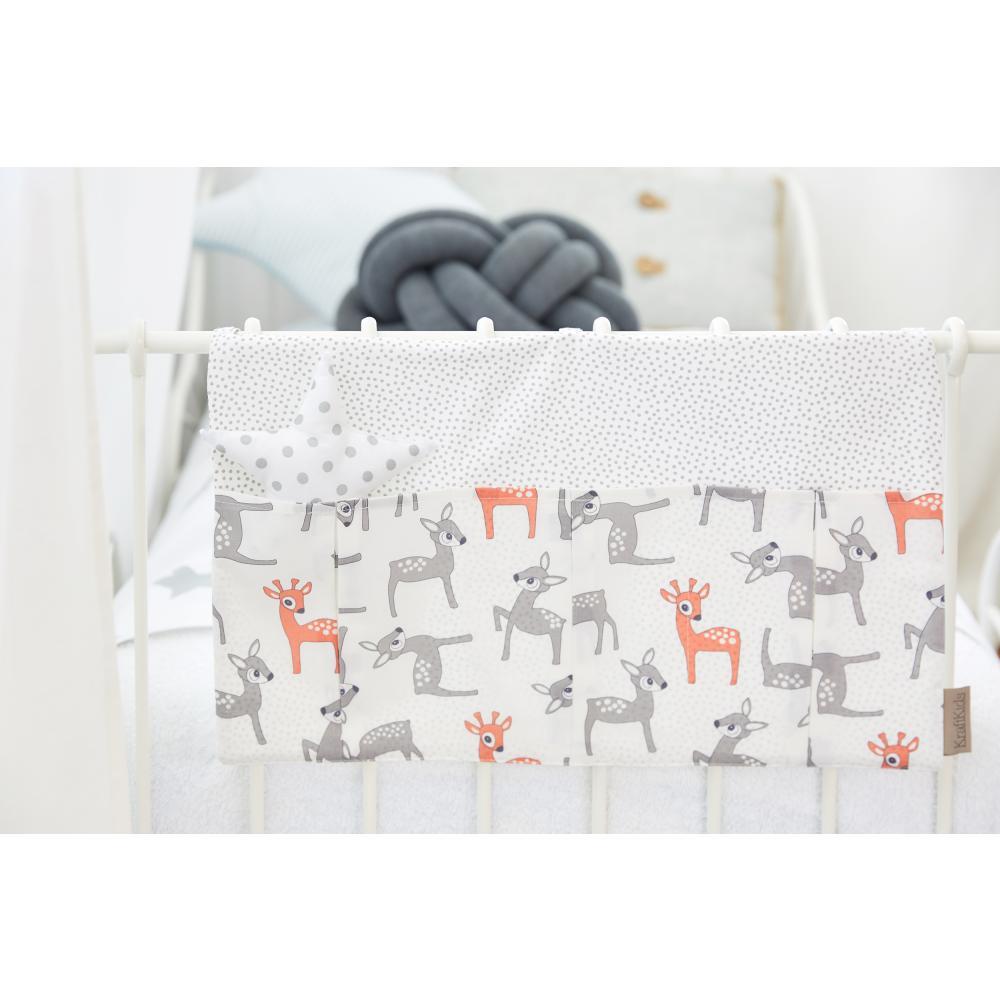 KraftKids Betttasche kleine Rehkitze grau orange auf Weiß