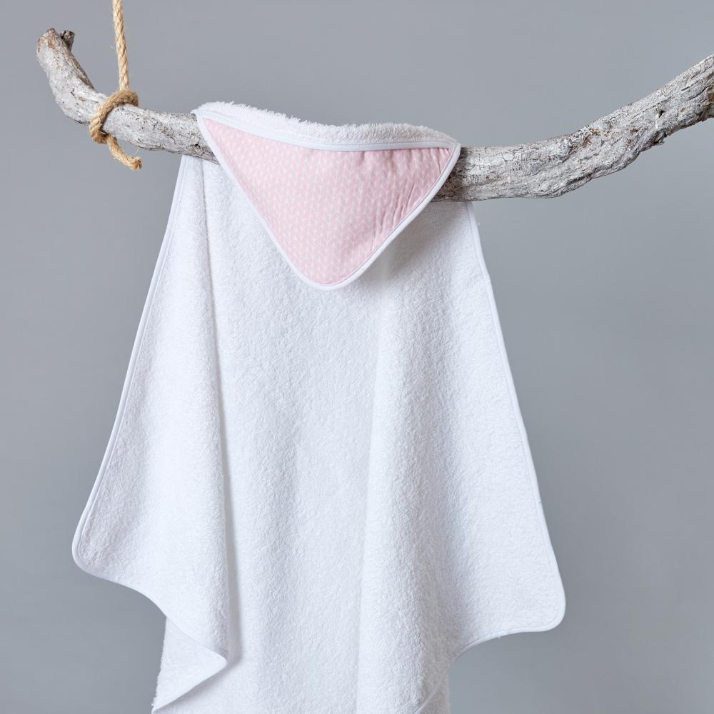 KraftKids Kapuzenhandtuch kleine Blätter rosa auf Weiß