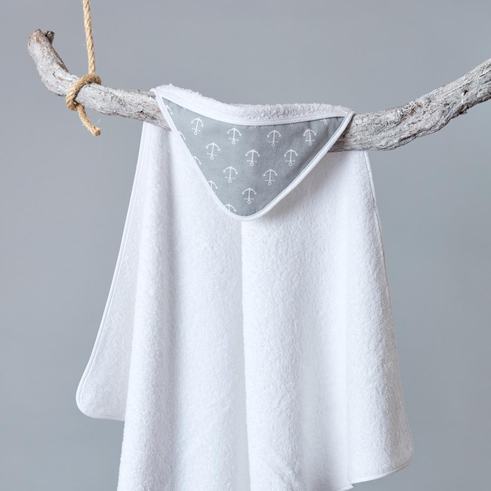 KraftKids Kapuzenhandtuch weiße Anker auf Grau