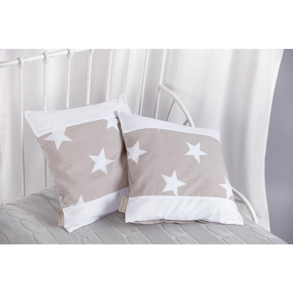 KraftKids Kissenbezug große weiße Sterne auf Beige und Uniweiss