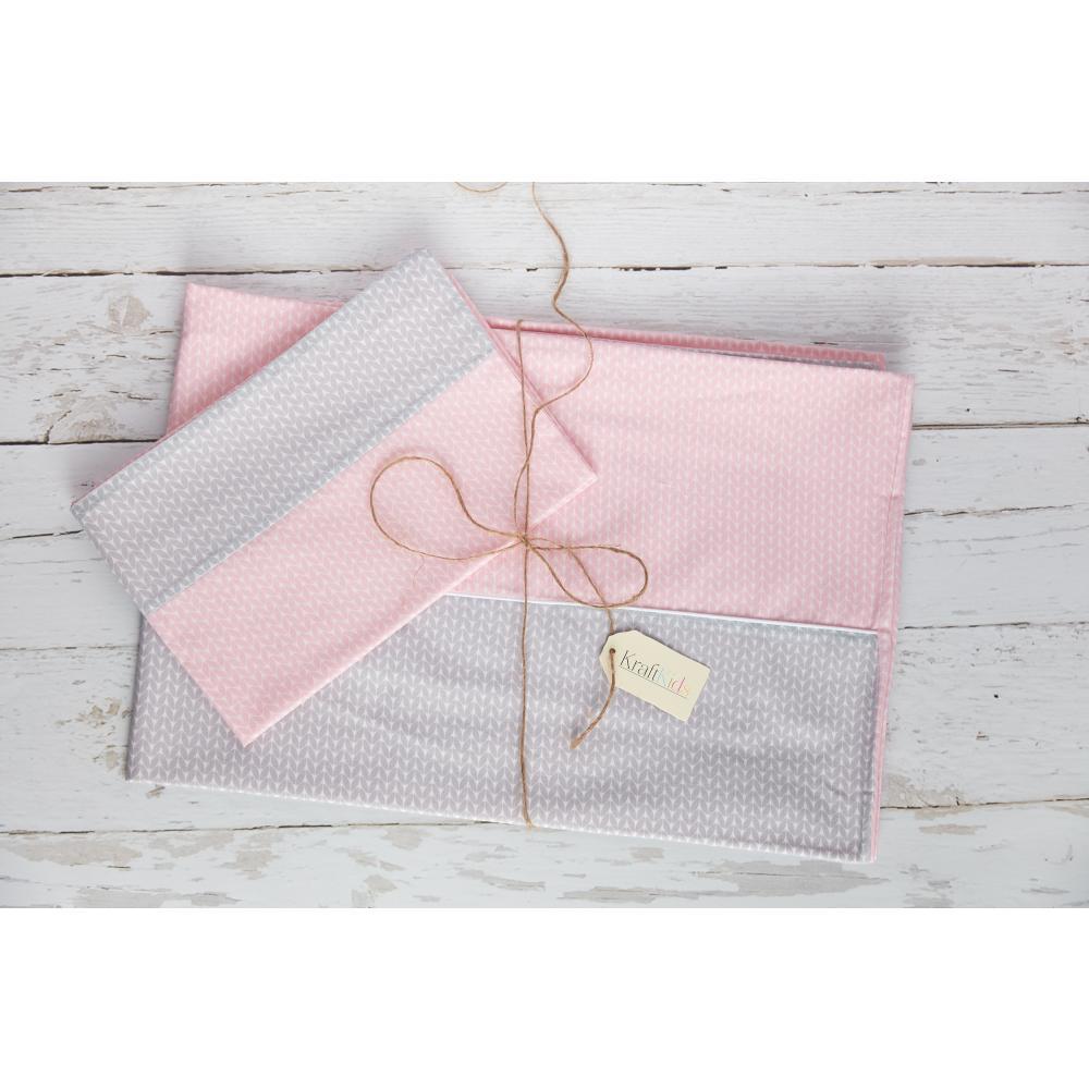 KraftKids Bettwäscheset kleine Blätter hellgrau auf Weiß und kleine Blätter rosa auf Weiß 140 x 200 cm, Kissen 80 x 80 cm