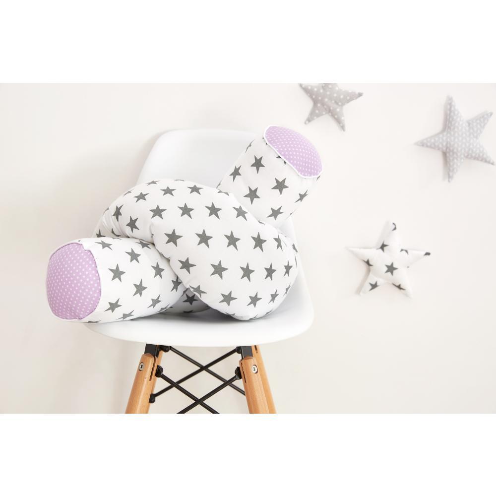 KraftKids Bettrolle kleine graue Sterne auf Weiss und weiße Punkte auf Lila Stärke: 10 cm, Rollenlänge 140 cm