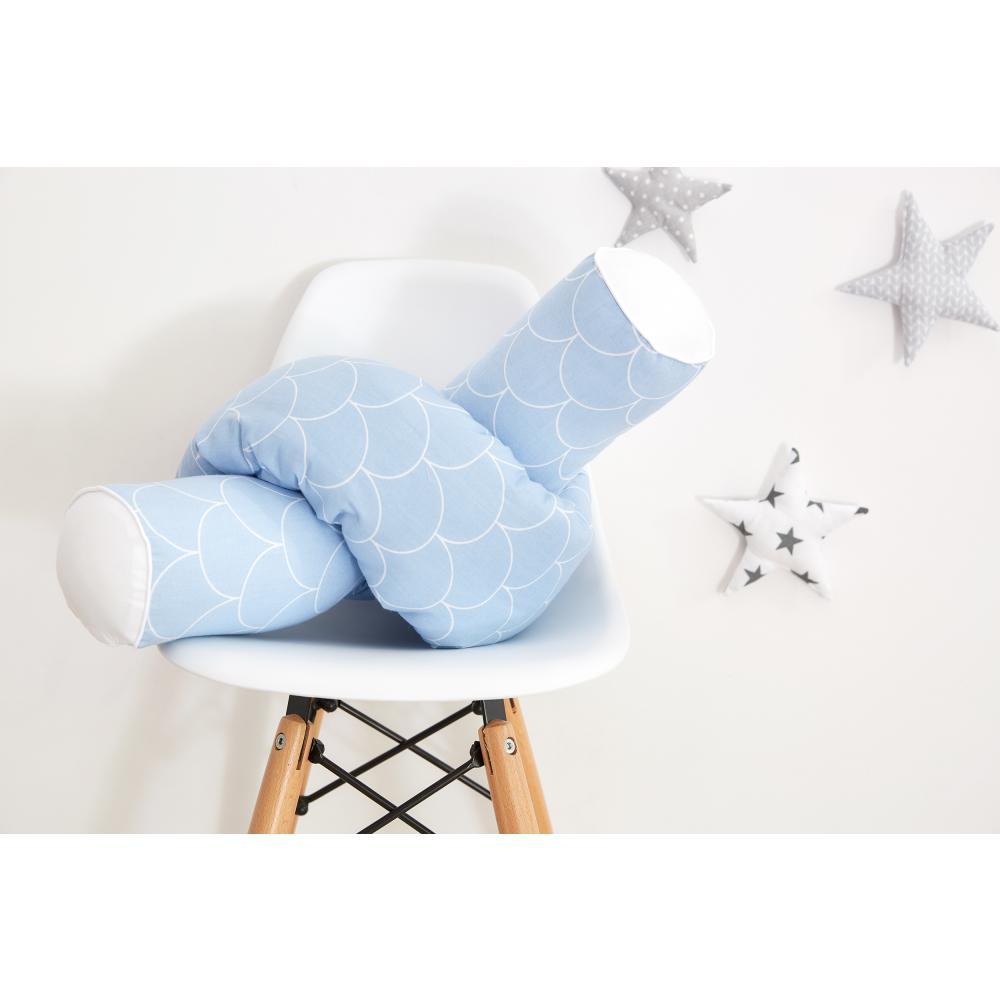 KraftKids Bettrolle weiße Halbkreise auf Pastelblau Stärke: 10 cm, Rollenlänge 140 cm