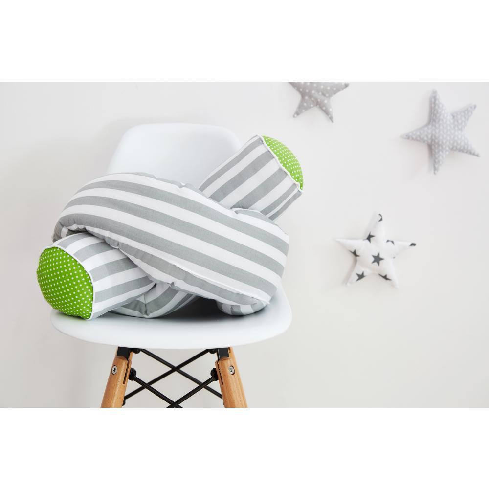 KraftKids Bettrolle weiße Punkte auf Grün und dicke Streifen grau Stärke: 10 cm, Rollenlänge 140 cm
