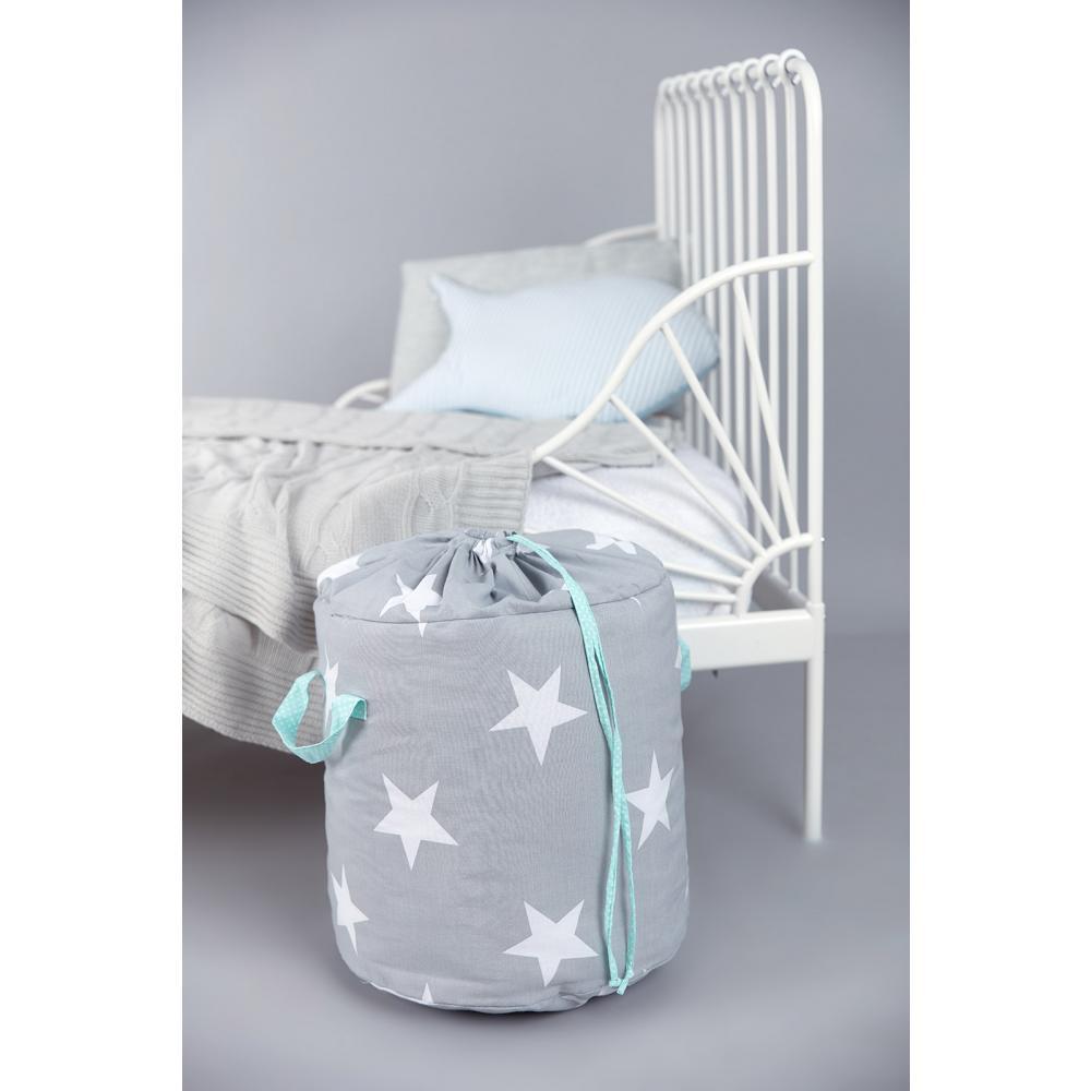 KraftKids Spielzeugkorb große weiße Sterne auf Grau und weiße Punkte auf Mint
