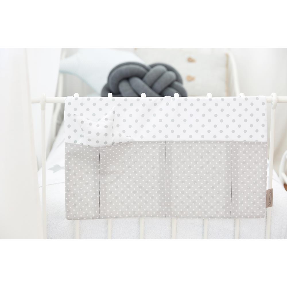 KraftKids Betttasche weiße Punkte auf Grau und graue Punkte auf Weiss