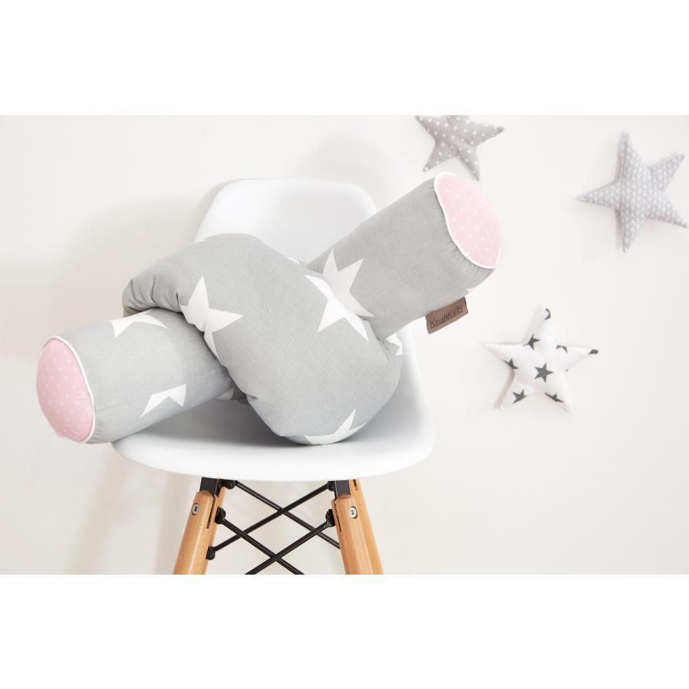 KraftKids Bettrolle große weiße Sterne auf Grau und weiße Punkte auf Rosa Stärke: 10 cm, Rollenlänge 140 cm