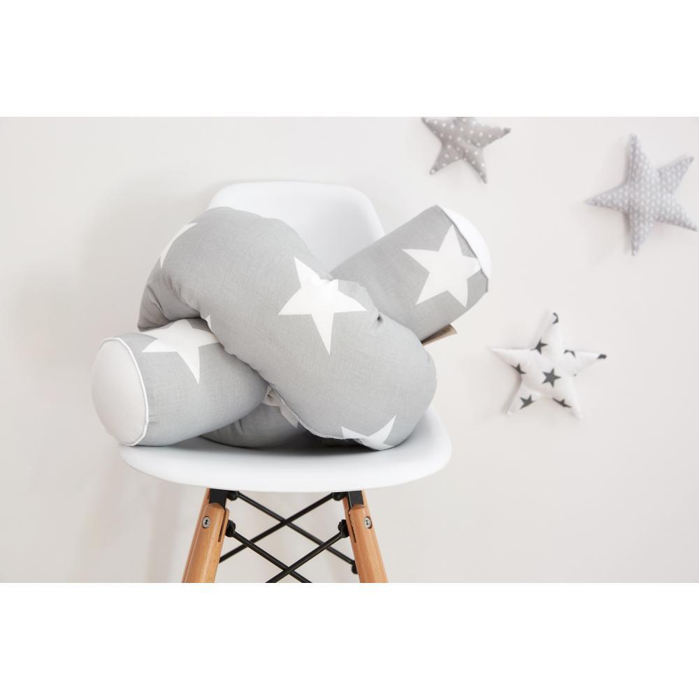 KraftKids Bettrolle große weiße Sterne auf Grau und Uniweiss Stärke: 10 cm, Rollenlänge 140 cm