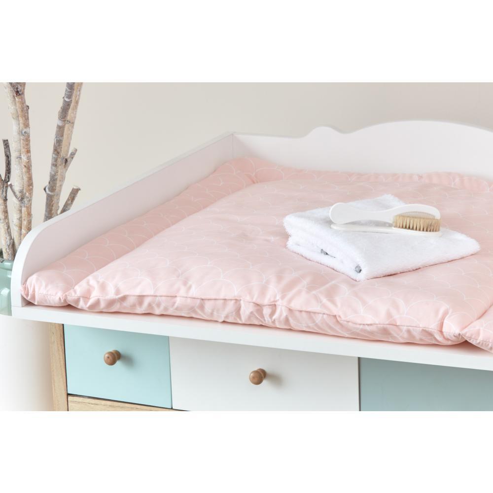 KraftKids Wickelauflage weiße Halbkreise auf Pastelrosa breit 78 x tief 78 cm z. B. für MALM oder HEMNES Kommodenaufsatz von KraftKids