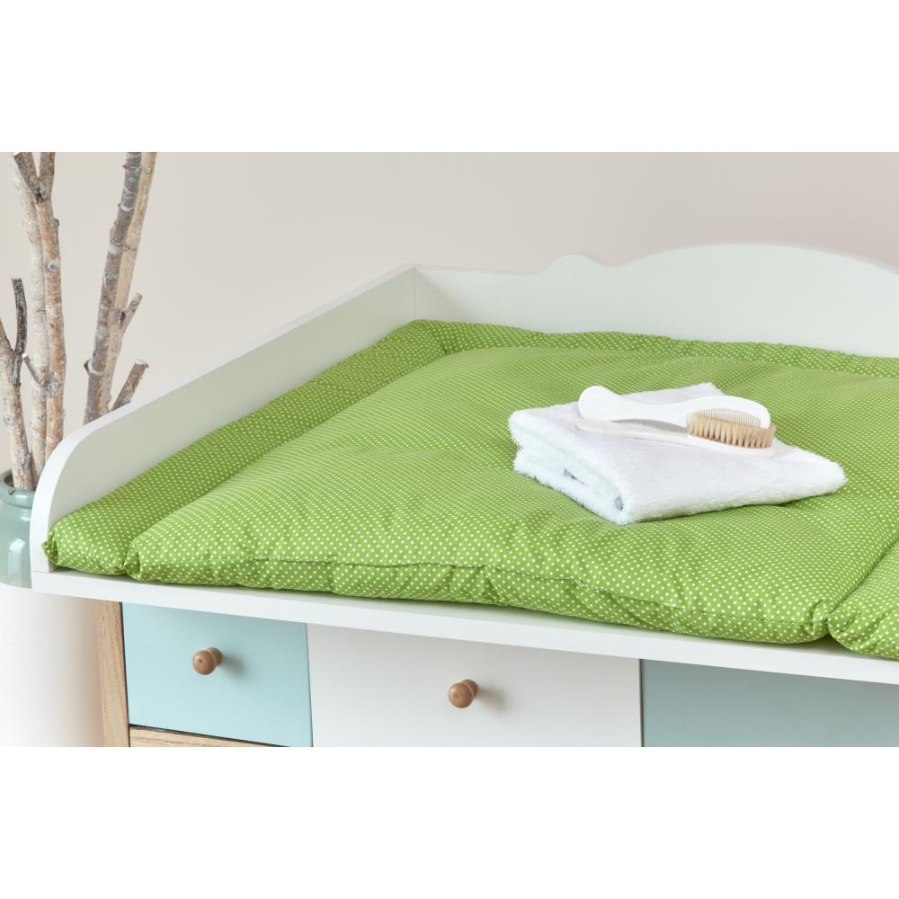 KraftKids Wickelauflage weiße Punkte auf Grün breit 60 x tief 70 cm passend für Waschmaschinen-Aufsatz von KraftKids