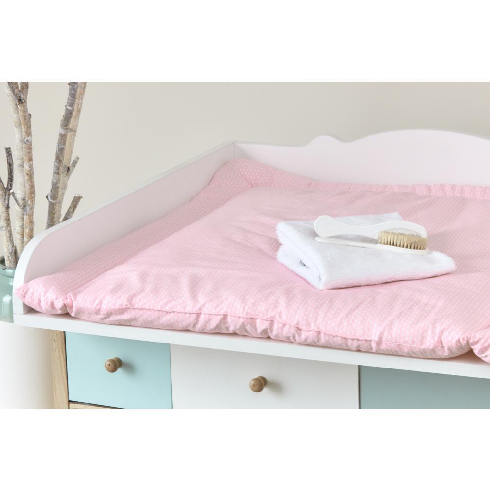 KraftKids Wickelauflage kleine Blätter rosa auf Weiß breit 60 x tief 70 cm passend für Waschmaschinen-Aufsatz von KraftKids