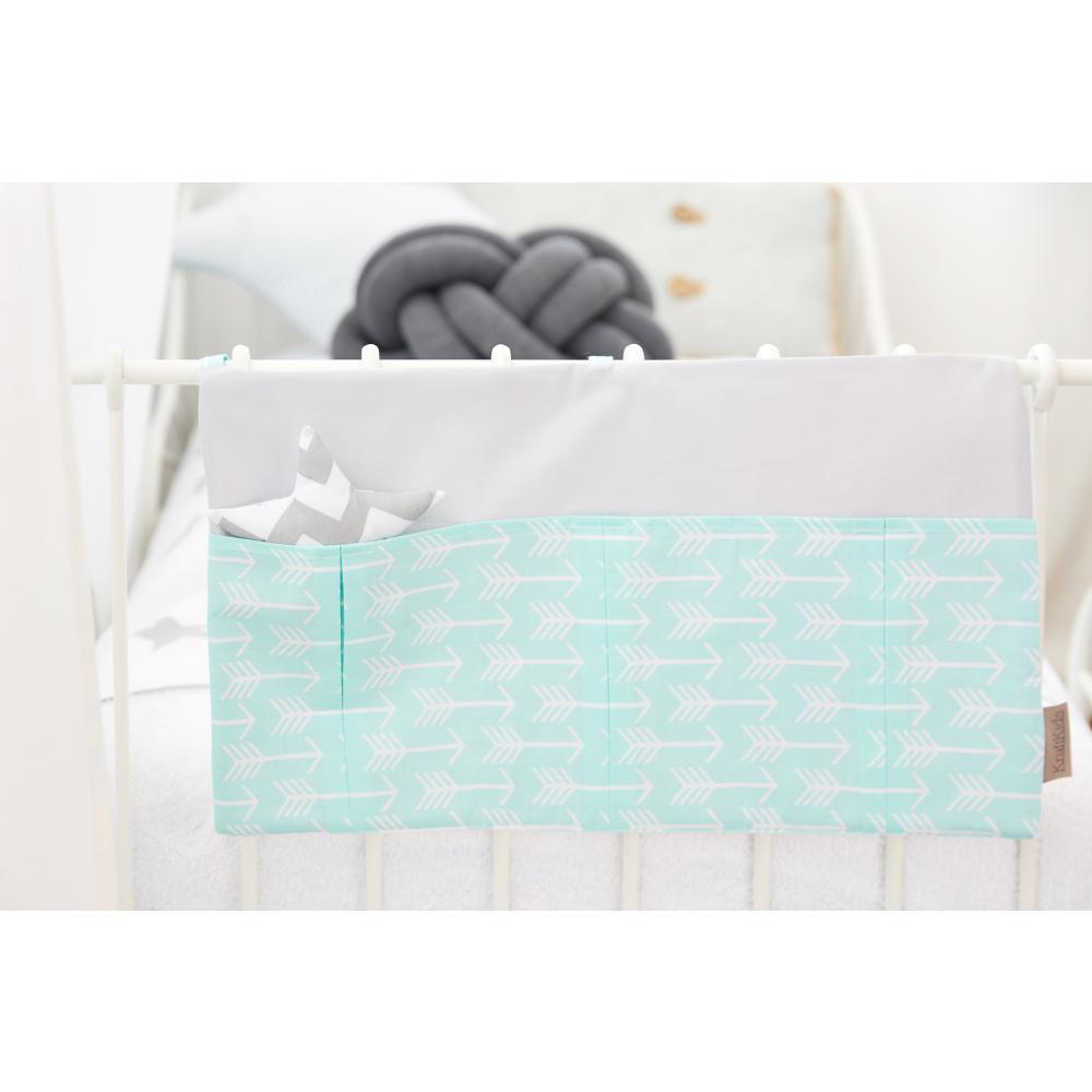 KraftKids Betttasche weiße Pfeile auf Mint und Unigrau