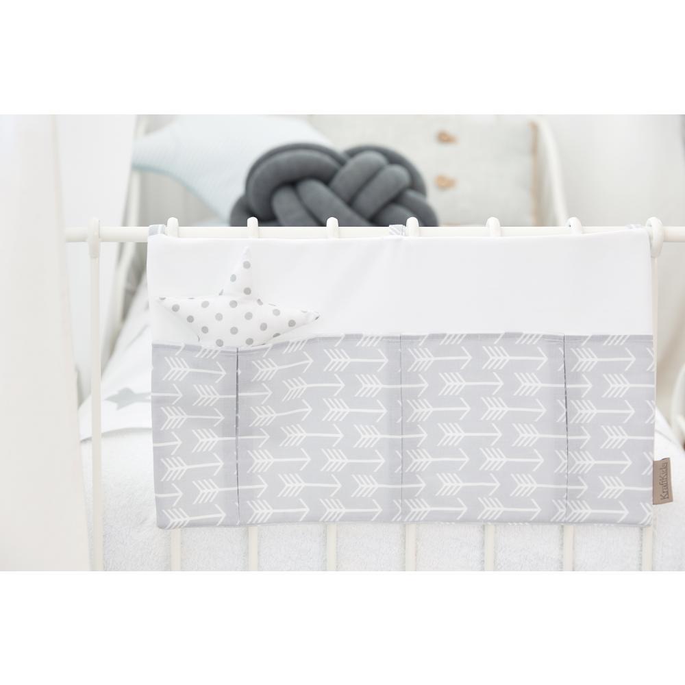 KraftKids Betttasche weiße Pfeile auf Grau und Uniweiss