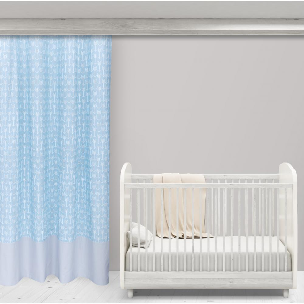 KraftKids Gardinen weiße Pfeile auf Blau und Unigrau Länge: 170 cm