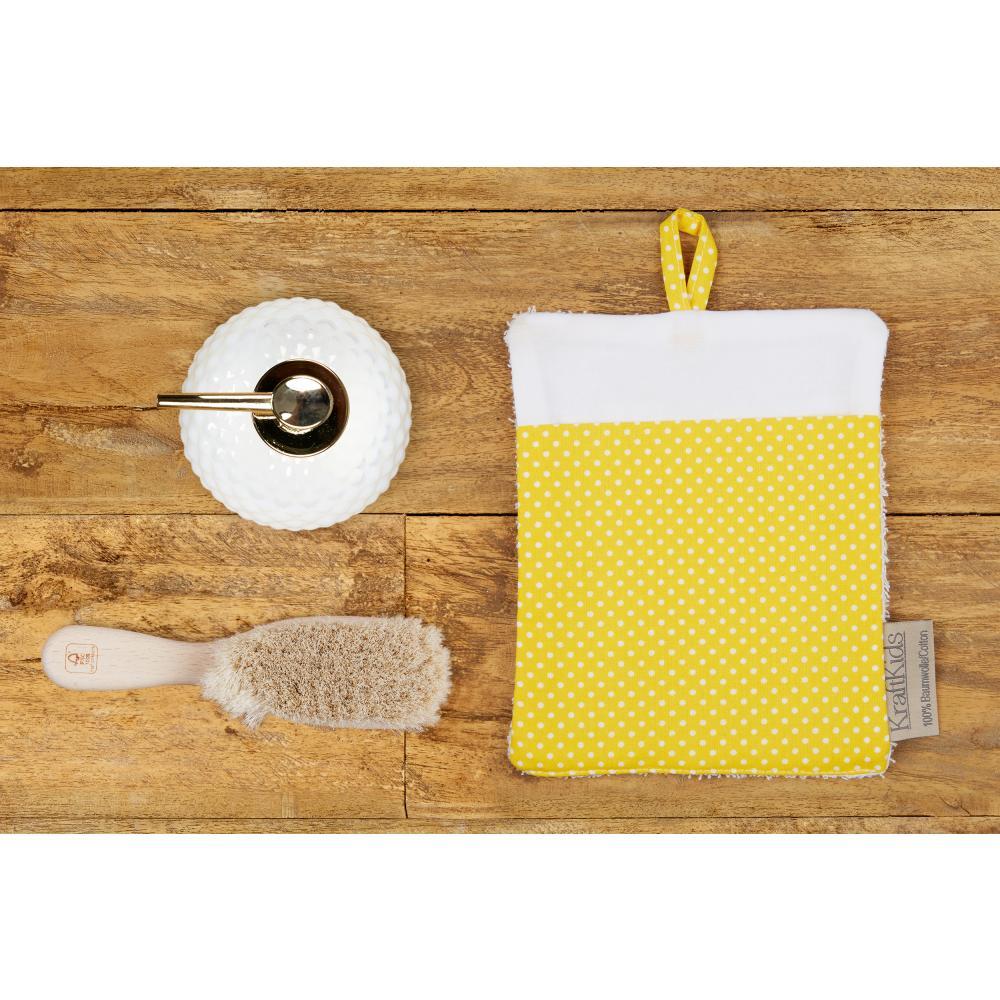 KraftKids Waschlappen weiße Punkte auf Gelb