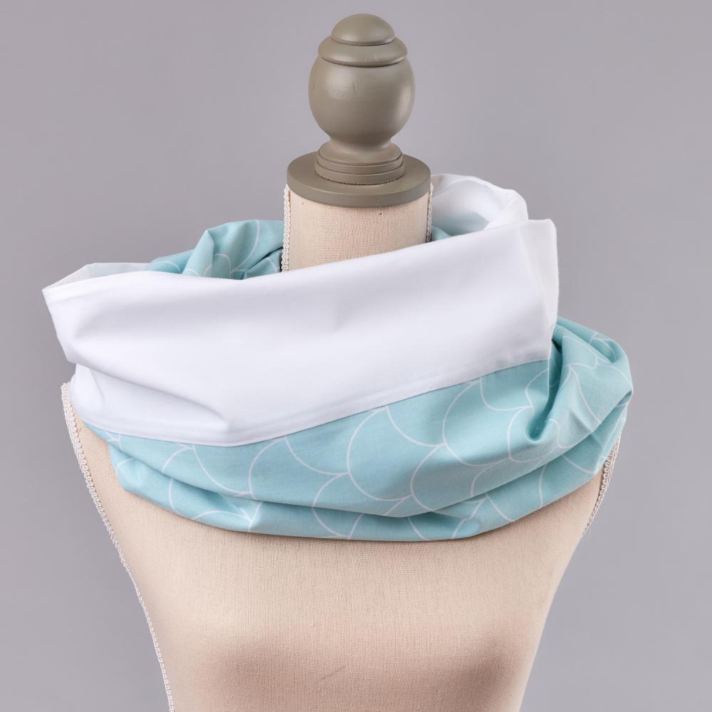 KraftKids Stilltuch Uniweiss und weiße Halbkreise auf Pastelmint