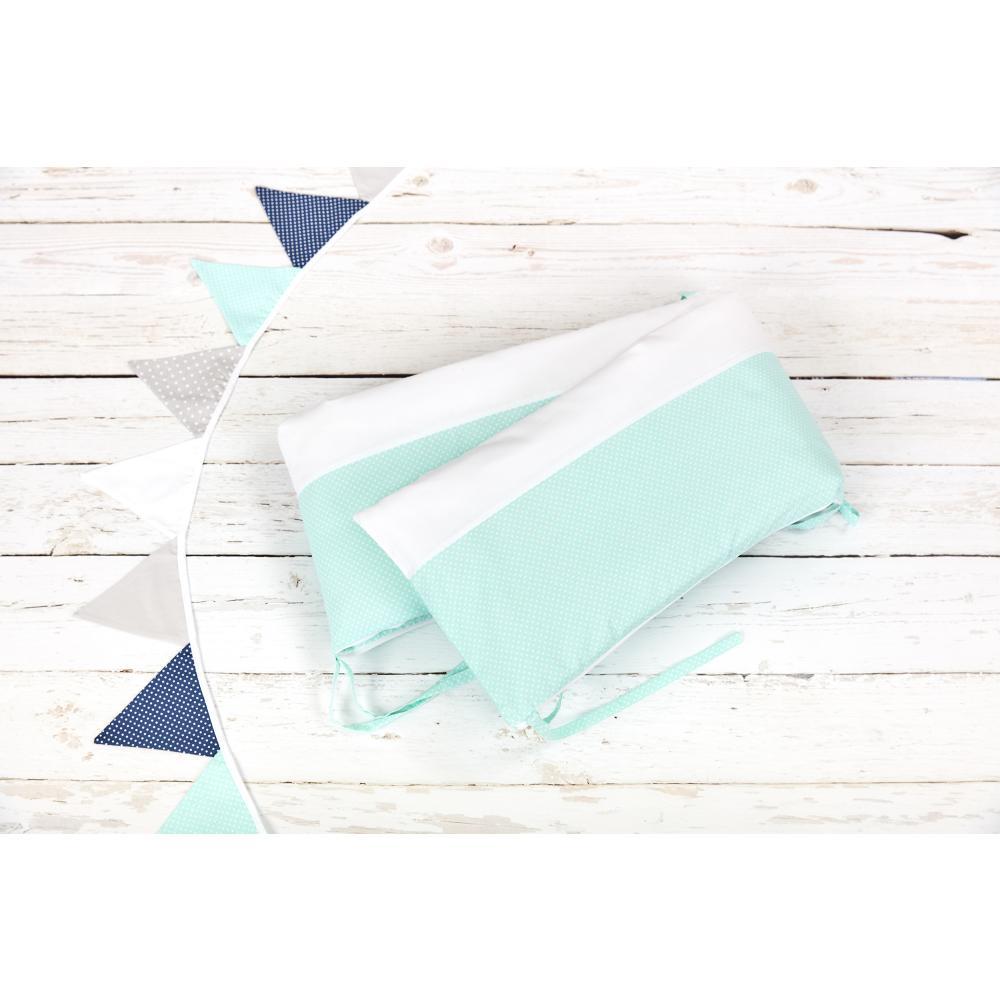 KraftKids Nestchen Uniweiss und weiße Punkte auf Mint Nestchenlänge 60-60-60 cm für Bettgröße 120 x 60 cm