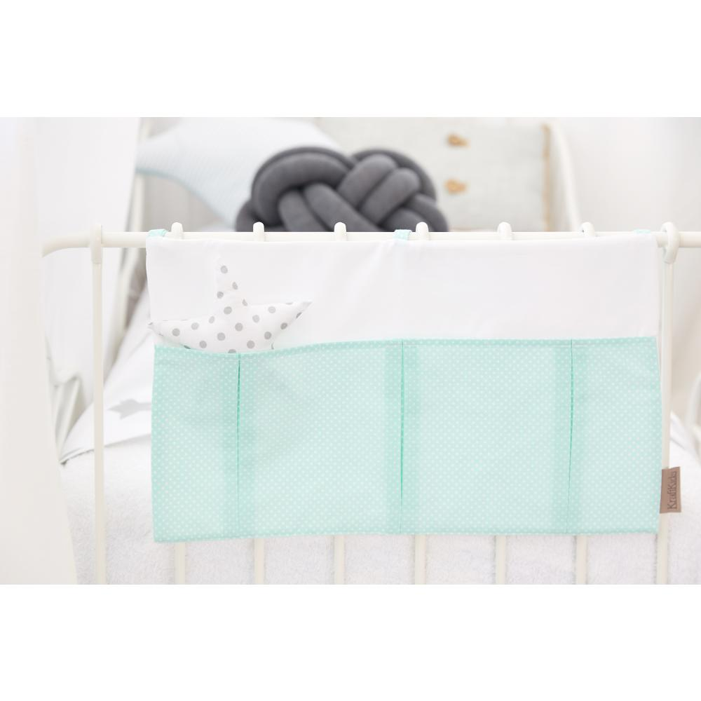 KraftKids Betttasche Uniweiss und weiße Punkte auf Mint