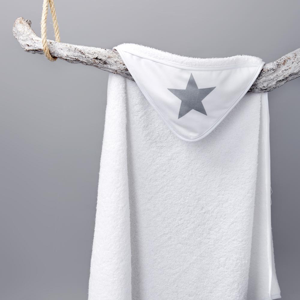KraftKids Kapuzenhandtuch große graue Sterne auf Weiss