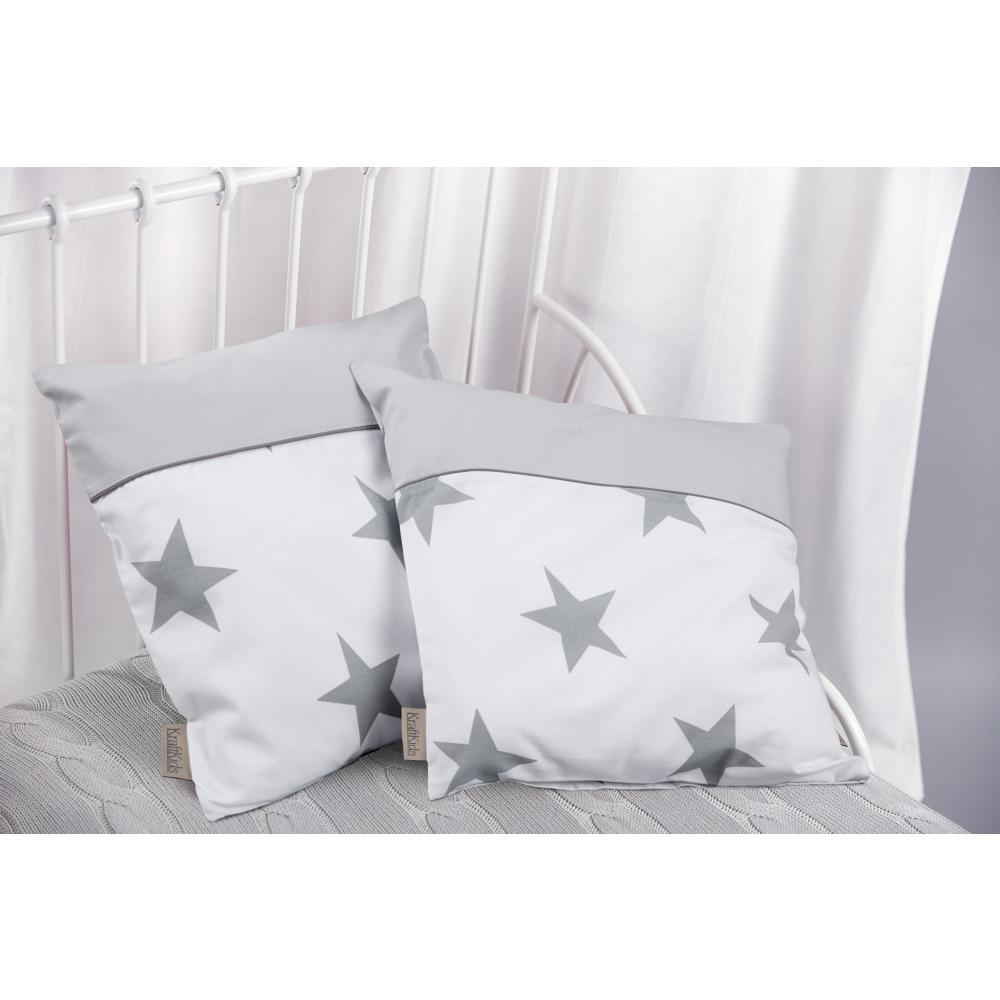 KraftKids Kissenbezug große graue Sterne auf Weiss und Unigrau