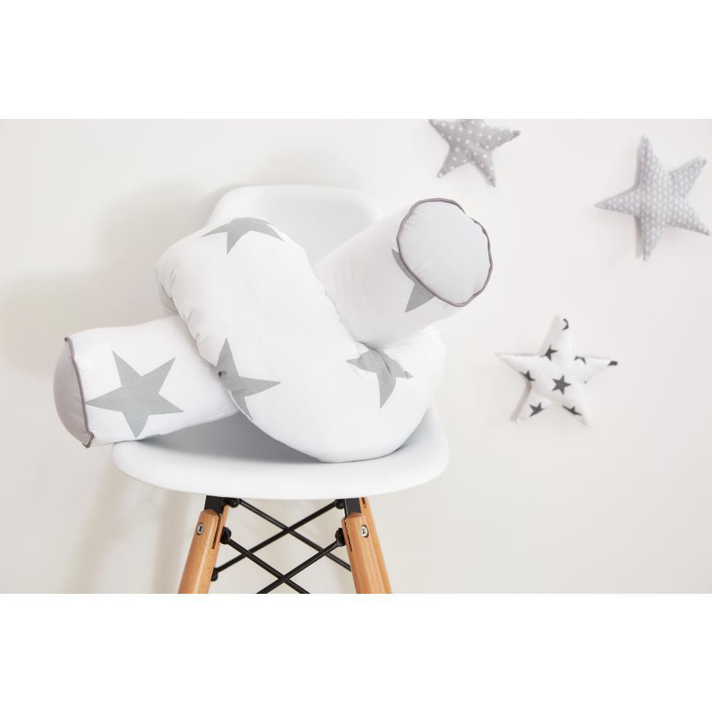 KraftKids Bettrolle große graue Sterne auf Weiss und Unigrau Stärke: 10 cm, Rollenlänge 140 cm
