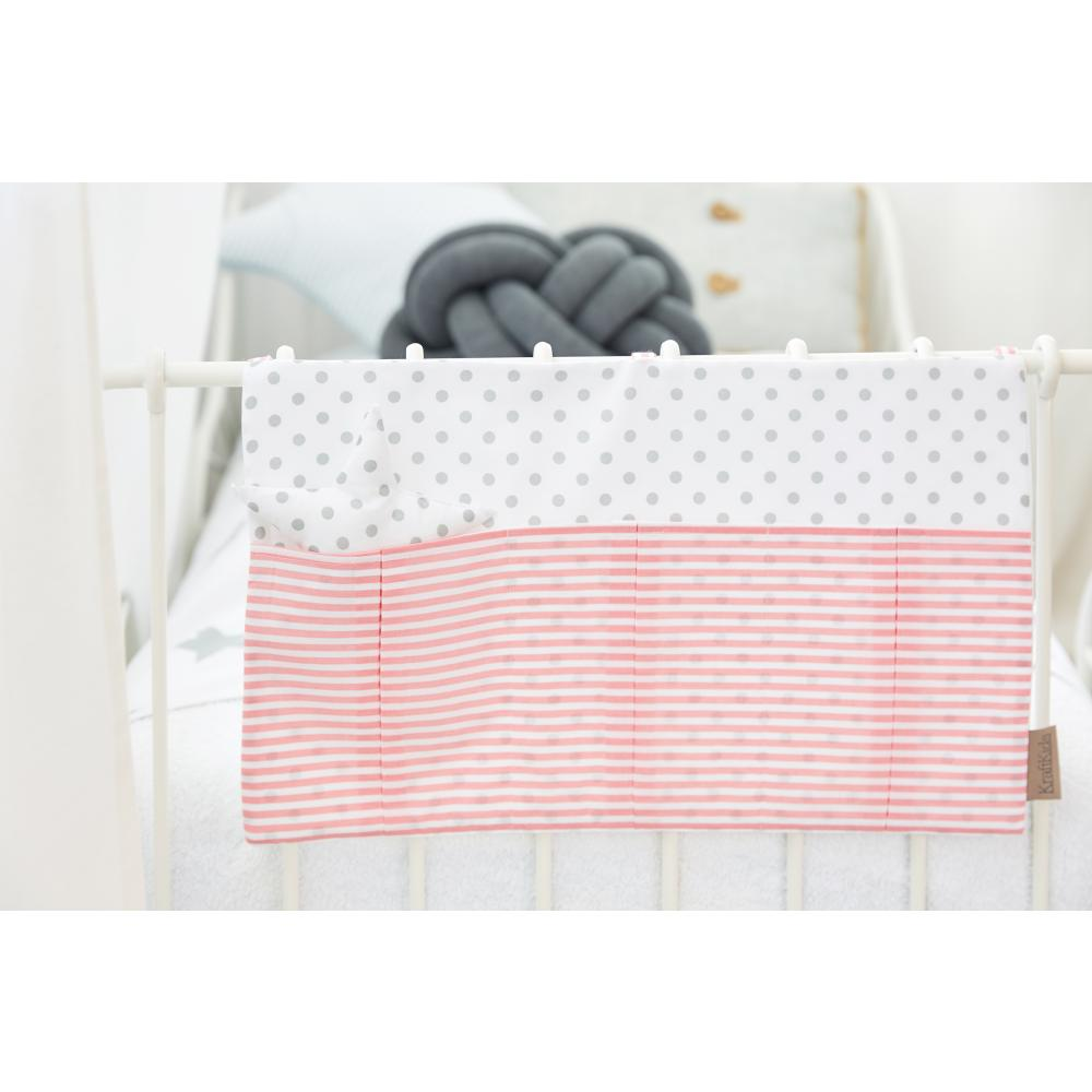 KraftKids Betttasche graue Punkte auf Weiss und Streifen rosa