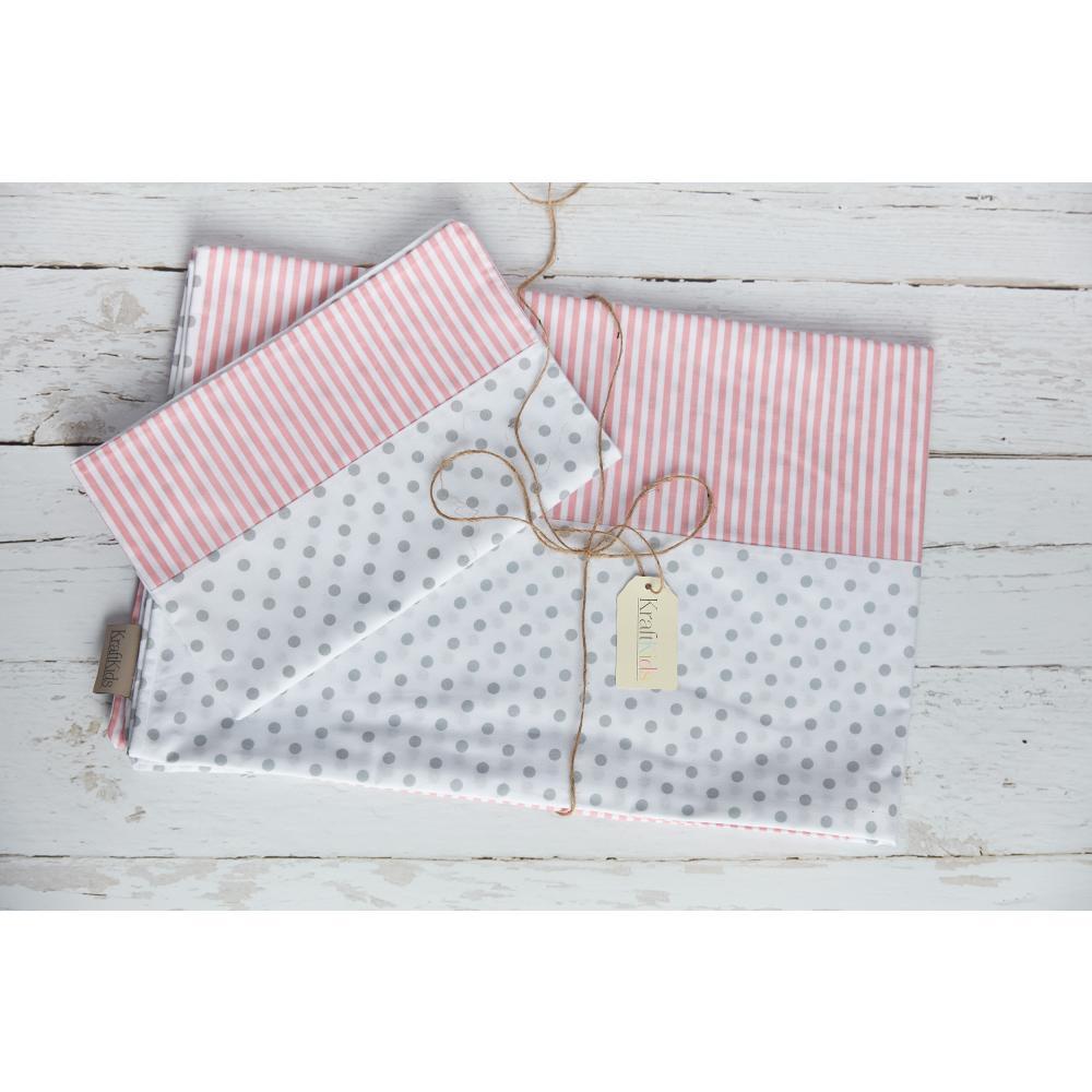 KraftKids Bettwäscheset graue Punkte auf Weiss und Streifen rosa 100 x 135 cm, Kissen 40 x 60 cm