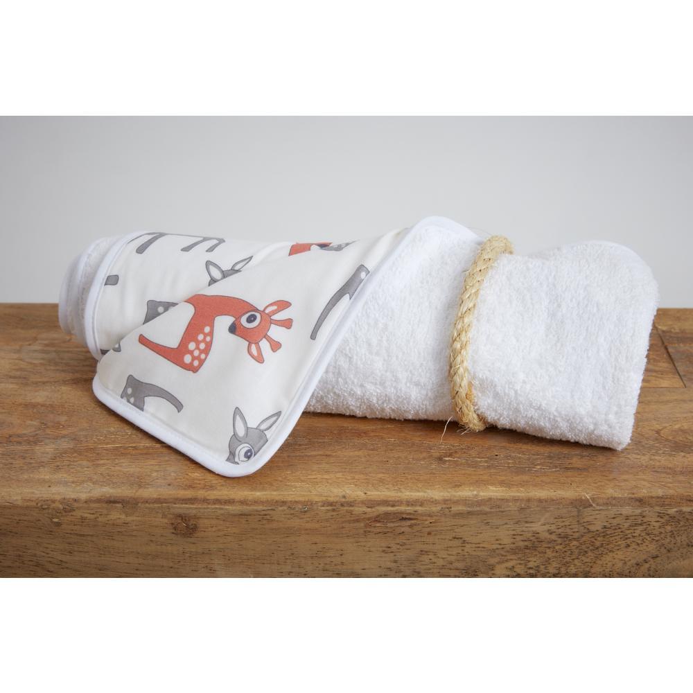 KraftKids Wickelunterlage kleine Rehkitze grau orange auf Weiß 3 Lagen wasserundurchlässig weich Frotte 100% Baumwolle