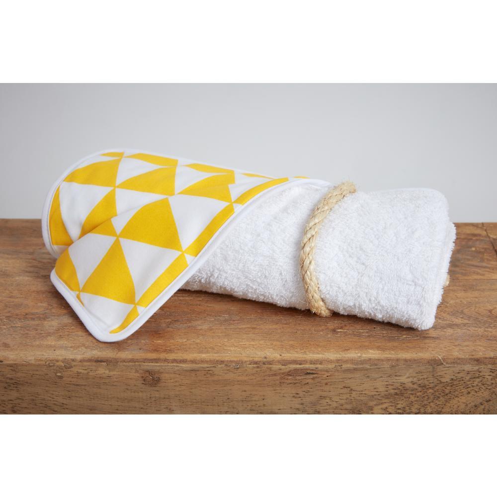 KraftKids Wickelunterlage gelbe Dreiecke 3 Lagen wasserundurchlässig weich Frotte 100% Baumwolle