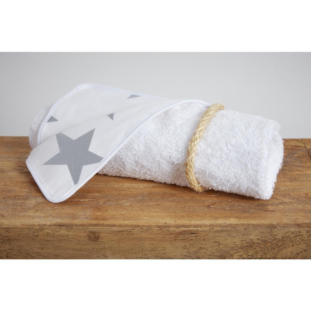 KraftKids Wickelunterlage große graue Sterne auf Weiss 3 Lagen wasserundurchlässig weich Frotte 100% Baumwolle