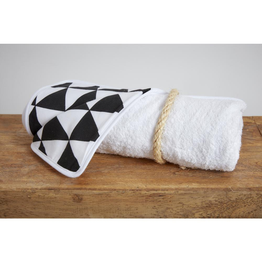 KraftKids Wickelunterlage schwarze Dreiecke 3 Lagen wasserundurchlässig weich Frotte 100% Baumwolle