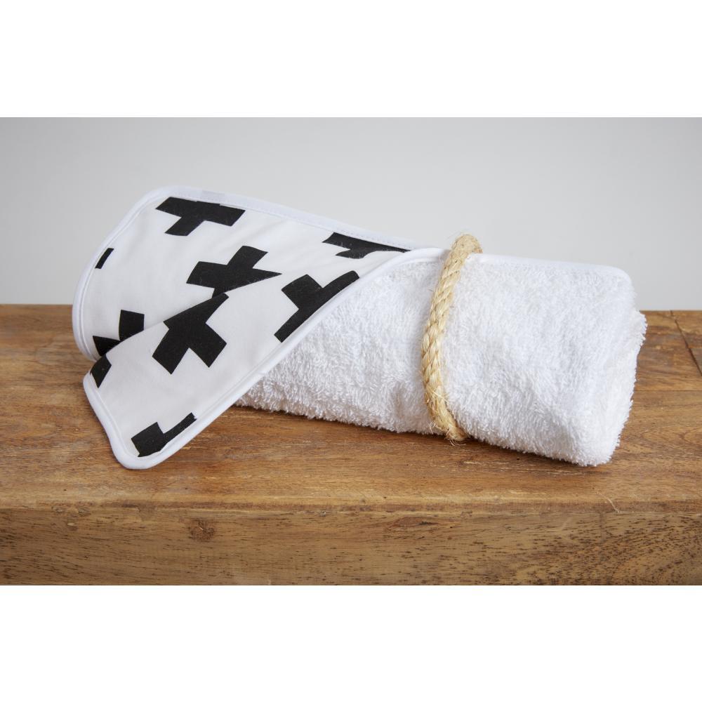 KraftKids Wickelunterlage schwarze Pluszeichen 3 Lagen wasserundurchlässig weich Frotte 100% Baumwolle