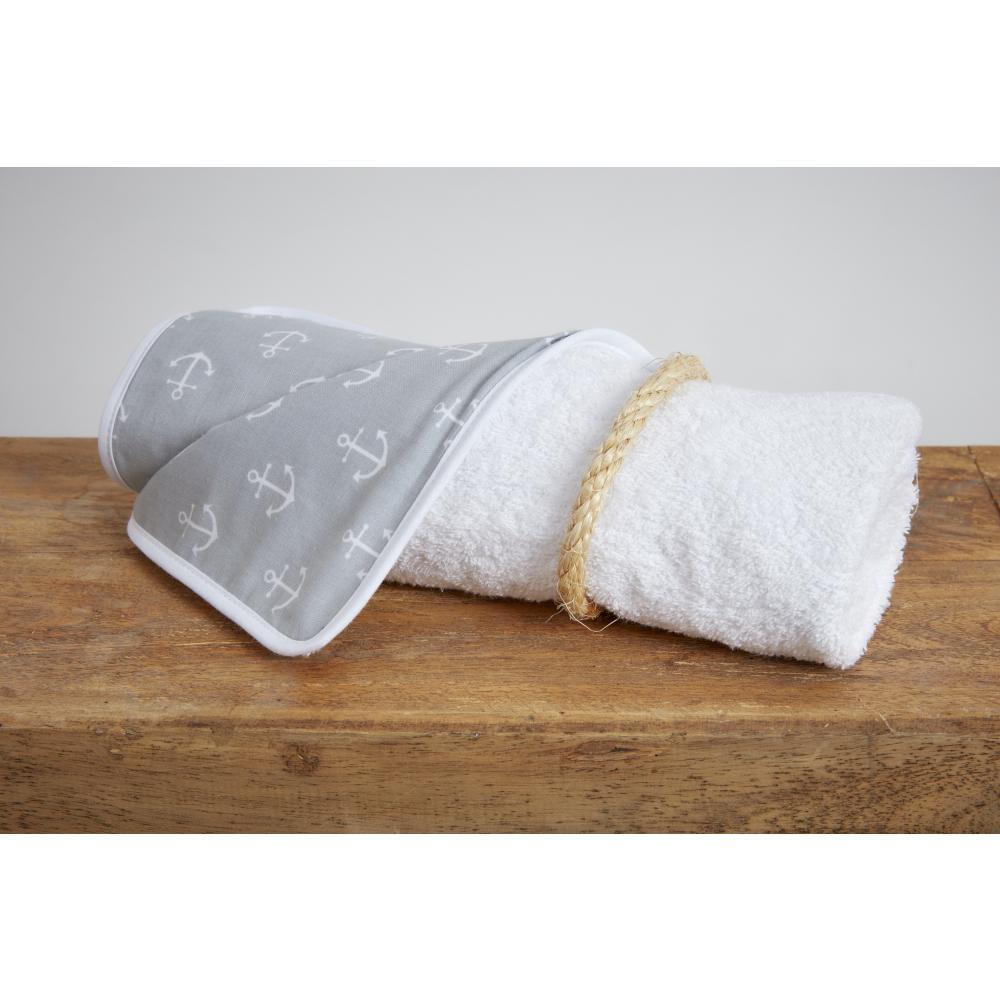 KraftKids Wickelunterlage weiße Anker auf Grau 3 Lagen wasserundurchlässig weich Frotte 100% Baumwolle