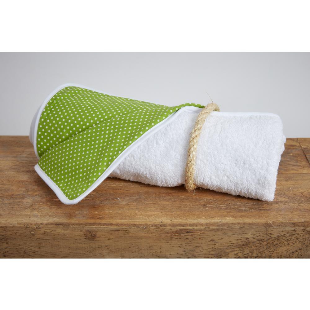 KraftKids Wickelunterlage weiße Punkte auf Grün 3 Lagen wasserundurchlässig weich Frotte 100% Baumwolle