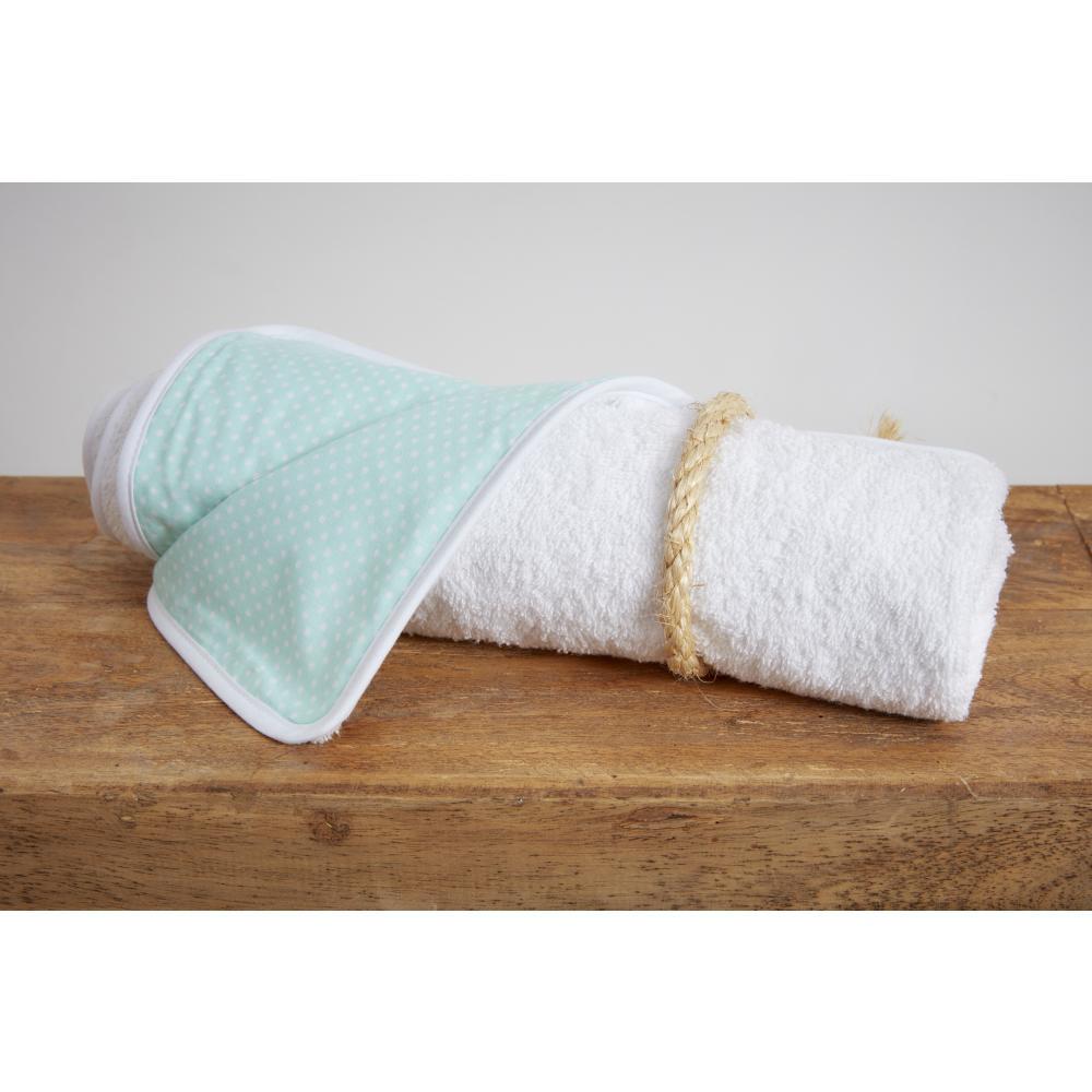 KraftKids Wickelunterlage weiße Punkte auf Mint 3 Lagen wasserundurchlässig weich Frotte 100% Baumwolle