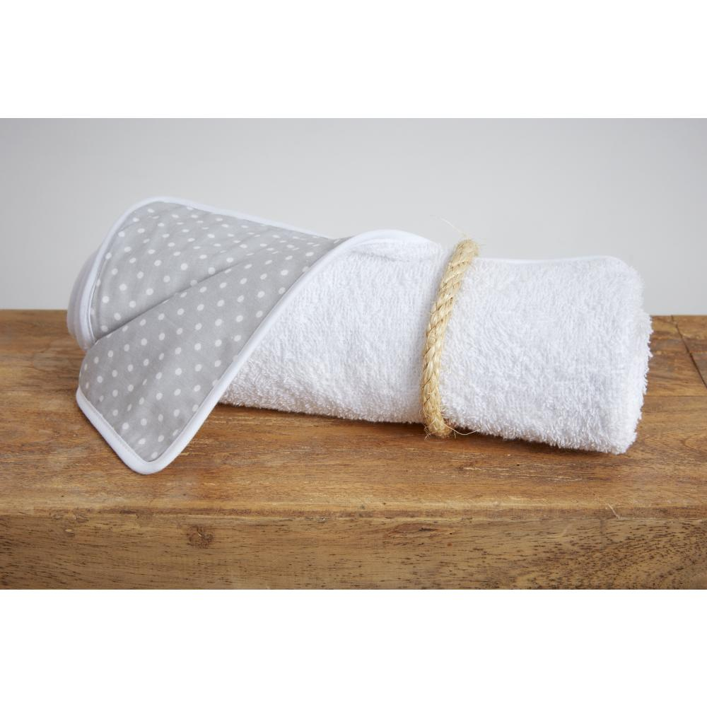 KraftKids Wickelunterlage weiße Punkte auf Grau 3 Lagen wasserundurchlässig weich Frotte 100% Baumwolle