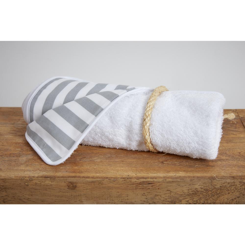 KraftKids Wickelunterlage dicke Streifen grau 3 Lagen wasserundurchlässig weich Frotte 100% Baumwolle