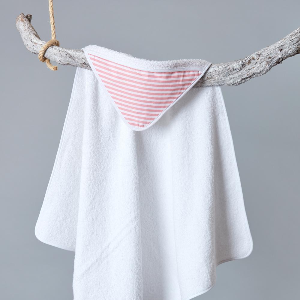 KraftKids Kapuzenhandtuch Streifen rosa