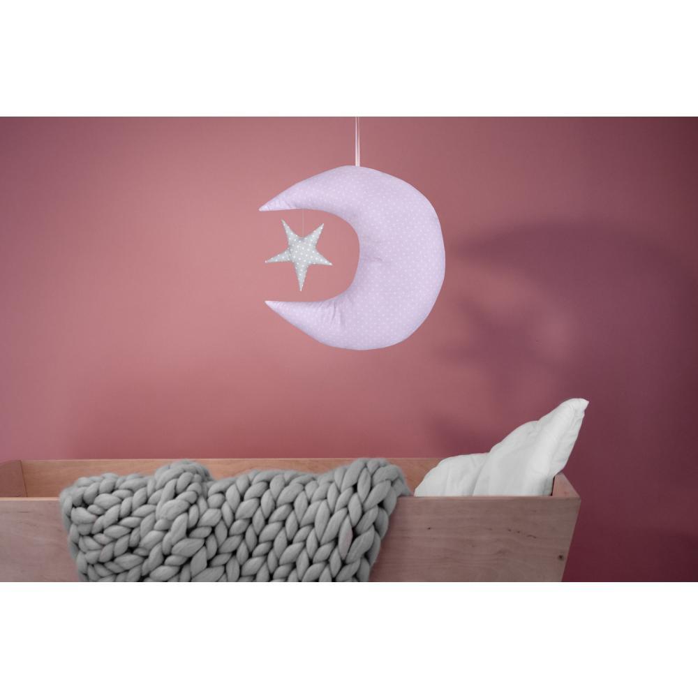 KraftKids Dekoration Mond und Stern weiße Punkte auf Grau und weiße Punkte auf Rosa