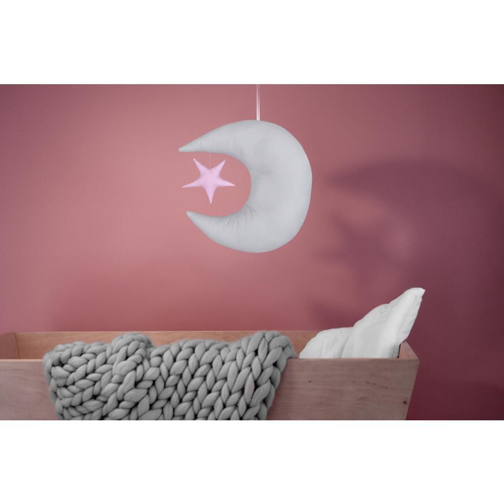 KraftKids Dekoration Mond und Stern Unigrau und Unirosa