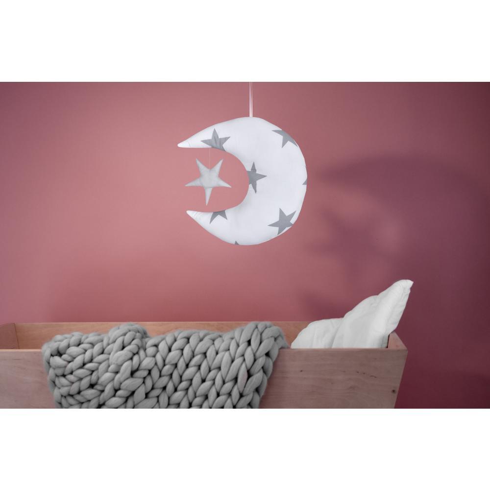 KraftKids Dekoration Mond und Stern große graue Sterne auf Weiss und Unigrau