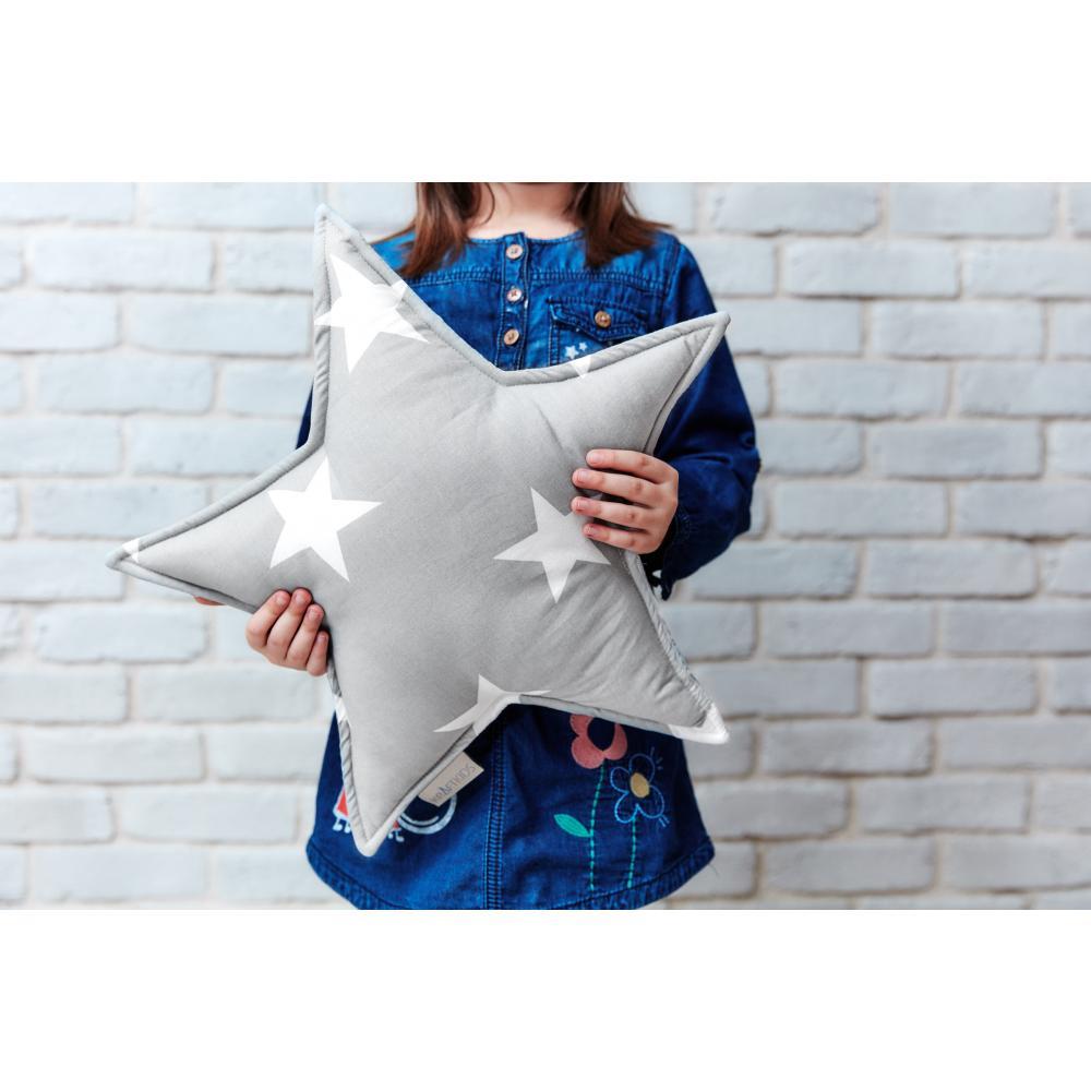 KraftKids Dekoration Sternkissen große weiße Sterne auf Grau