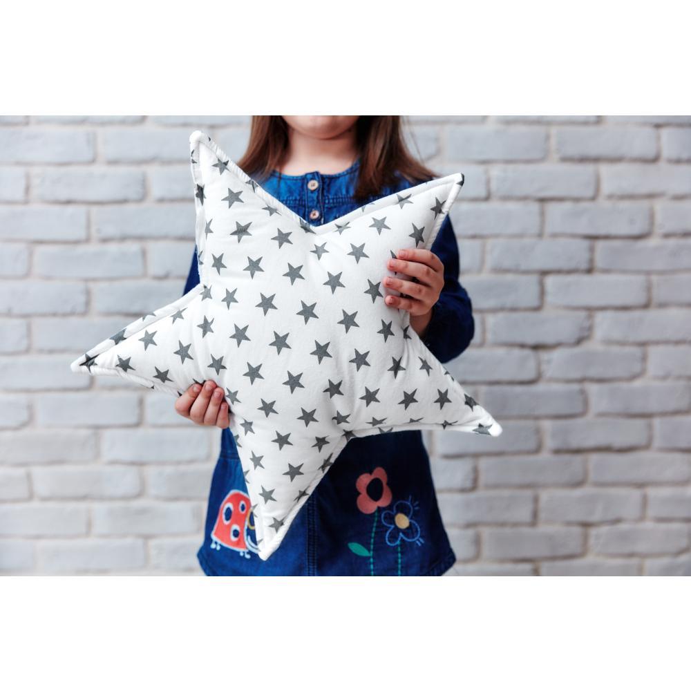 KraftKids Sternkissen kleine graue Sterne auf Weiss