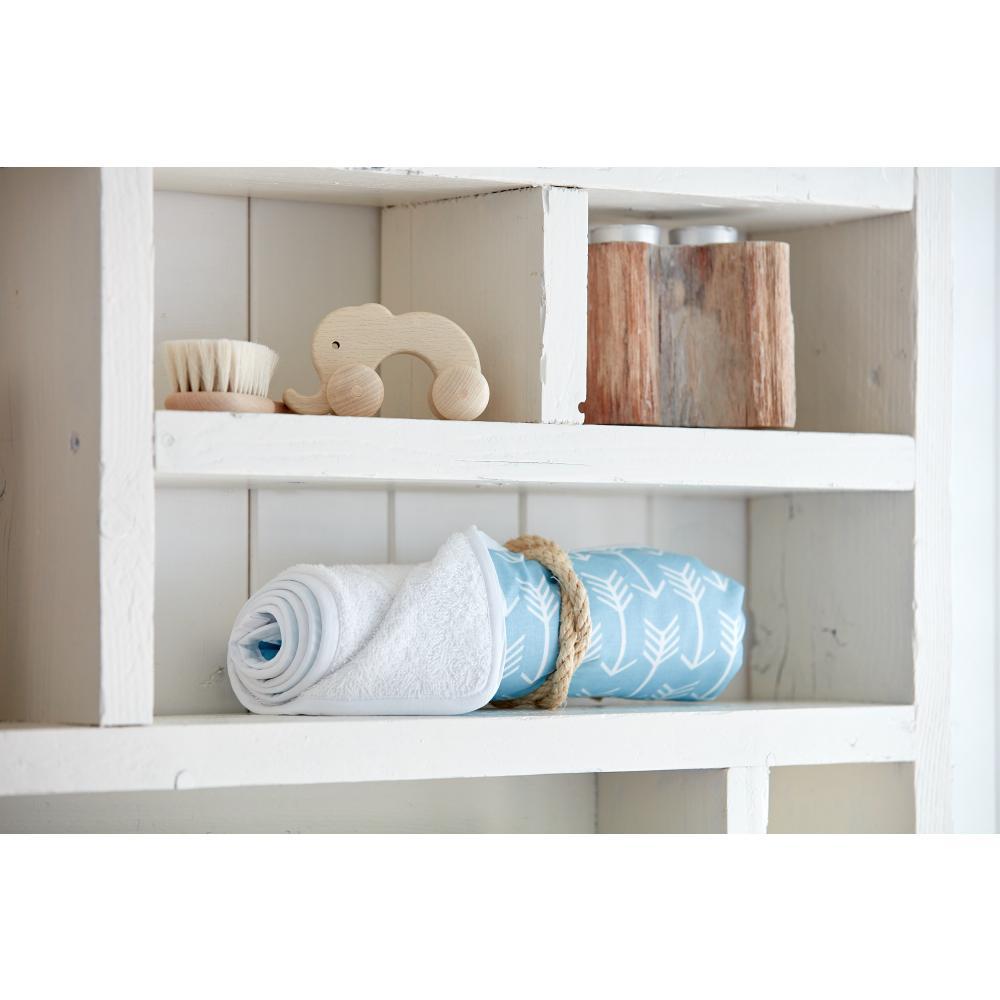 KraftKids Wickelunterlage weiße Pfeile auf Blau 3 Lagen wasserundurchlässig weich Frotte 100% Baumwolle