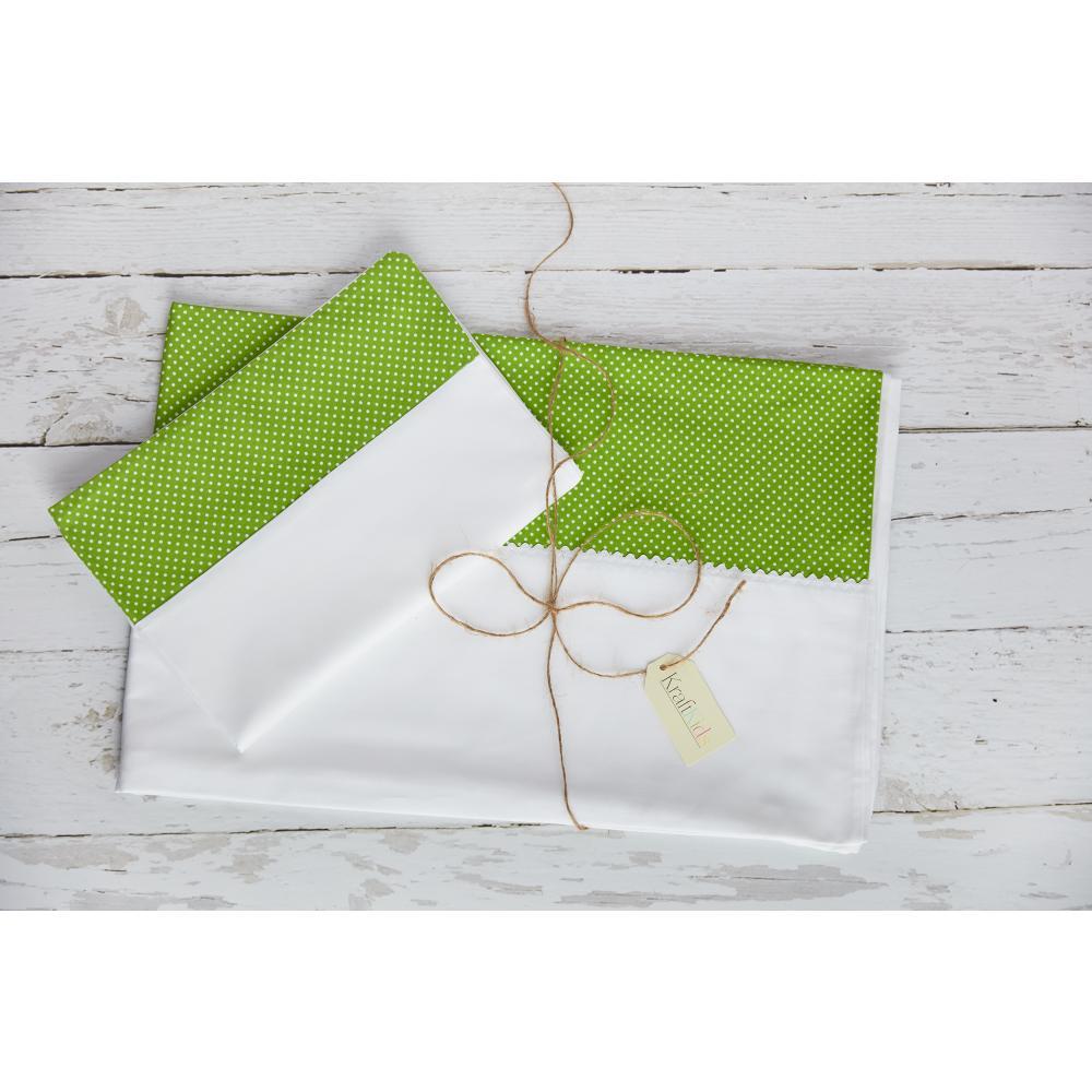 KraftKids Bettwäscheset Uniweiss und weiße Punkte auf Grün 100 x 135 cm, Kissen 40 x 60 cm