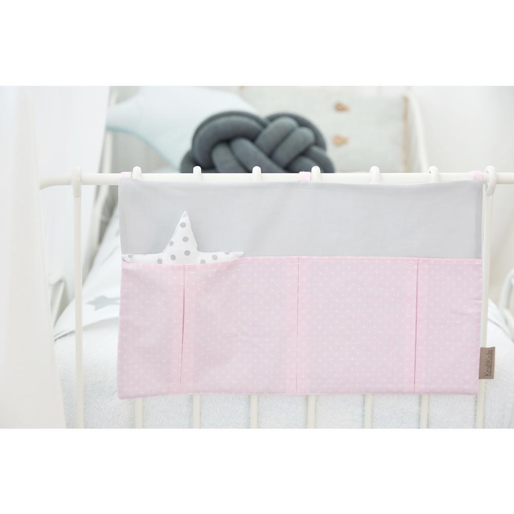 KraftKids Betttasche Unigrau und weiße Punkte auf Rosa