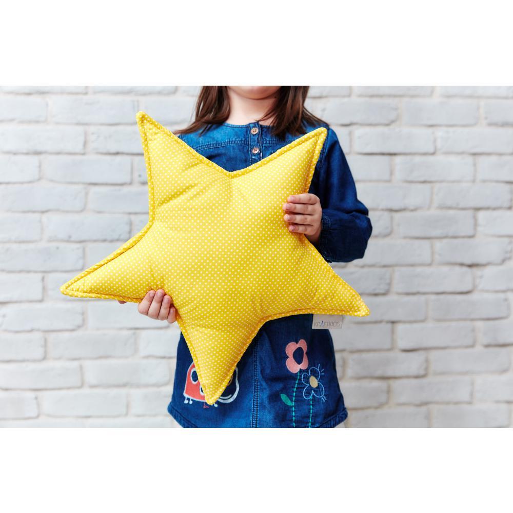 KraftKids Dekoration Sternkissen weiße Punkte auf Gelb