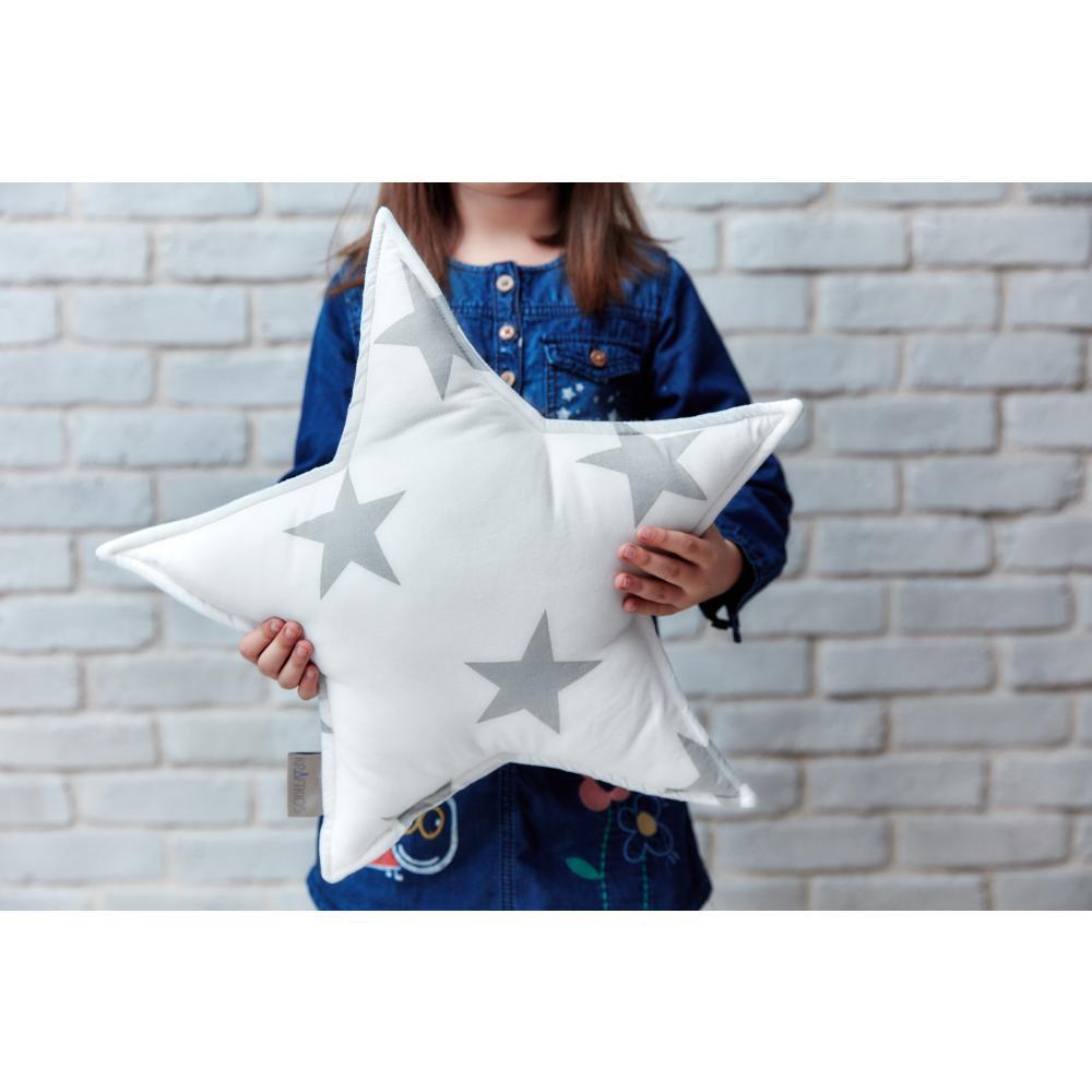 KraftKids Sternkissen große graue Sterne auf Weiss